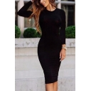 Women's Long Sleeve Round Neck Solid Color Pencil Midi Dress