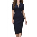 Fashion Elegant V-Neck Plain Short Sleeve Midi Pencil Dress