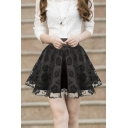 Women's High Rise Organza Skirt A-Line Mini Puff Skirt