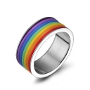 Unisex Rainbow Color Block Ring