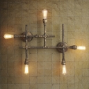 Retro Bronze Finished Pipe Four Light Wall Light