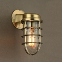 One Light Mini Sized Industrial Iron Hallway Wall Light in Matte Brass