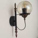 Globe Glass Shade Industrial Wall Sconce 1-Light Novel Front Door Lighting
