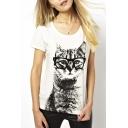 Women's Cute Cat Printed Short Sleeve Round Neck Tee