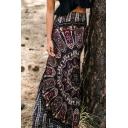 Women's Floral Multicolor Span Stretch Pencil Bodycon Maxi Skirt
