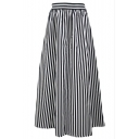Women's Elastic Classic Black White Striped Print A-Line Maxi Skirt
