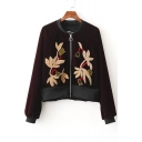 Women's Zip Placket Long Sleeve Stand-Up Collar Floral Embroidery Velvet Coat