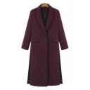 Women's Double Breasted Lapel Collar Winter Warm Longline Coat