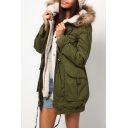Women's Fashion Fur Hooded Zip Placket Long Sleeve Winter Warm Cotton Coat