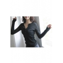 Women's Versatile Long Sleeve Henley or Notch Neck Pullover Tunic Sweaters