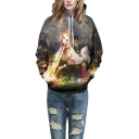 Unisex Simulation Printing Cartoon Pocket Hooded Sweatshirt