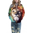 Unisex 3d Lion Printed Kangaroo Pocket Hooded Sweatshirt Hoodies