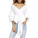Women's Bow Waist-tie Ruffle Bell Sleeve Sweet Blouse Top