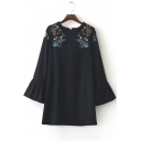 Women's Petal Round Neck Flare Sleeve Embroidery Shoulder Shift Mini Dress