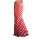 Women's Red Contrast White Polka Dot Printed Package Hip Cute Maxi Skirt