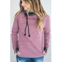 Women's Long Sleeve Zip Side Contrast Cuff Casual Loose Hoodie