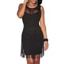 Women's Rayon Cute Sleeveless Bodycon Tassel Dress