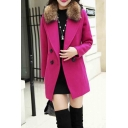 Women Double Breasted Fur Collar Lapel Neck Winter Coat