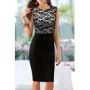 Women's Fashion Color Block Sleeveless Round Neck Midi Pencil Dress