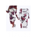 Women's Fashion Boat Neck 3/4 Sleeve Floral Print Shift Dress