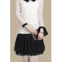 Women's Elastic Waist Layered Lace Skirt A-Line Pleated Mini Skirt