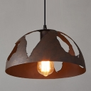 Wrought Iron Style Vintage Dome Shape 1-Lt Hanging Light in Rust