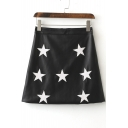 Women's Five Pointed Star Print PU A-Line Mini Skirt