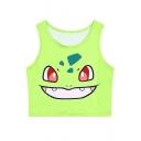 Pokemon Women Bustier Crop Top Skinny T-Shirt Sports Dance Tops Vest Tank