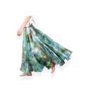 Womens Summer Chiffon Floral Print Maxi Long Skirt
