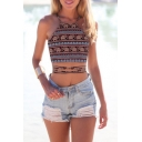 Sexy Women's Halter Tribal Elephant Printed Color Block Tied Back Crop Tank Top