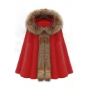 Chic Oversized Fur Hooded Single Button Plain Cape