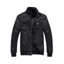 Fashion Unisex Zipper Placket Plain Half High Neck Patchwork Coat