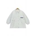 Boyfriend Style Zipper Placket Studded Plain Tunic Coat with Two Pockets