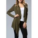 Fashion Plain Long Sleeve Asymmetric Trim Cardigan Coat