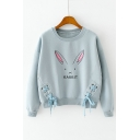 Cute Rabbit Letter Printed Tied Trim Dropped Long Sleeve Pullover Sweatshirt