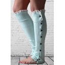 New Design Lace Trim Buttons Down Women's Knitted Stockings