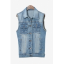 Women's Denim Jacket Sleeveless Single Breasted Vest