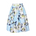Women's Printed Pleated Flared A-Line Midi Skirt