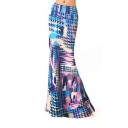 Women's Contrast Printed Package Hip Maxi Skirt
