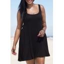 Women's Plain Sleeveless Scoop Neck Mini Tank Dress