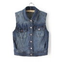 Loose Lapel Single Breasted Sleeveless Denim Vest