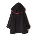 Fashion Double Breasted Hooded Long Sleeve Plain Cape