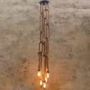 Simple 6 Bulb Ceiling Pendant in Natural Rope