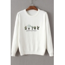 Trendy Cactus Embroidery Round Neck Pullover Sweater White/Blue/Pink