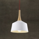 Wood And Aluminum Indoor Hanging Pendant In White Finish