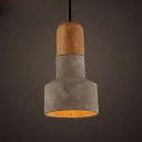 Creative Design Concise Style Cement and Wood Mini Pendant