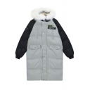 Fur Hooded Contrast Raglan Long Sleeve Embroidery Latter Patch Tunic Coat