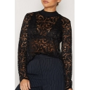 Fashion Crochet Mock Neck Long Sleeve Women's Sheer Lace Blouse