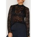 Fashion Crochet Mock Neck Long Sleeve Women's Sheer Lace Blouse