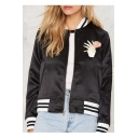 Floral Embroidery long Sleeve Stand-Up Collar Striped Print Sports Jacket